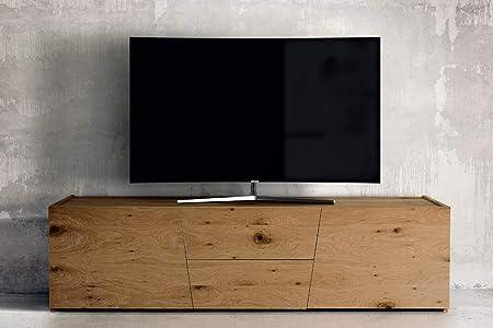 Mobile Tv Porta Tv Cm 165 X 45 X 45 H Rovere Nodato Spazzolato Naturale Per  Soggiorno Salotto Ufficio Camera Da Letto