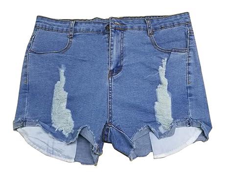 b129c201422d9e Gladiolus Damen Jeans-Shorts Denim Stretch Jeans Hohe Taille Skinny  Distressed Kurze Jeans Hotpants XXL