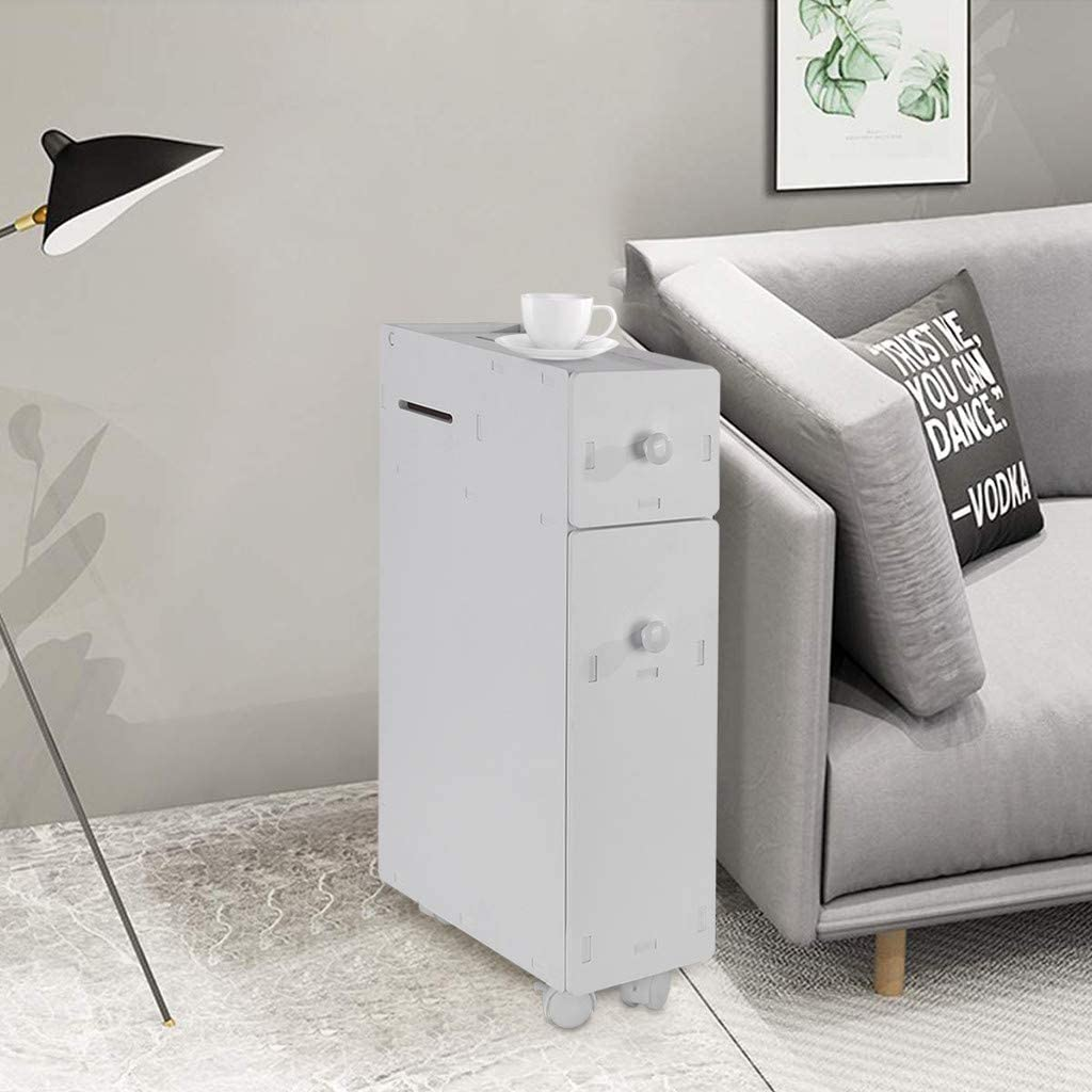 Cabinet Kimanli Simple Storage Cabinet Living Room Bathroom Toilet Narrow Floor Storage Cabinet with Drawers White