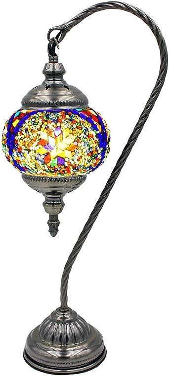 Lámpara turca de mosaico hecha a mano con fiebre plateada, cristal ...