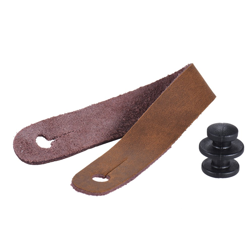 Andoer Leather Strap Button Headstock Tie Adaptor for Acoustic Electric Guitar Ukelele Bass Brown Guitar Headstock Tie