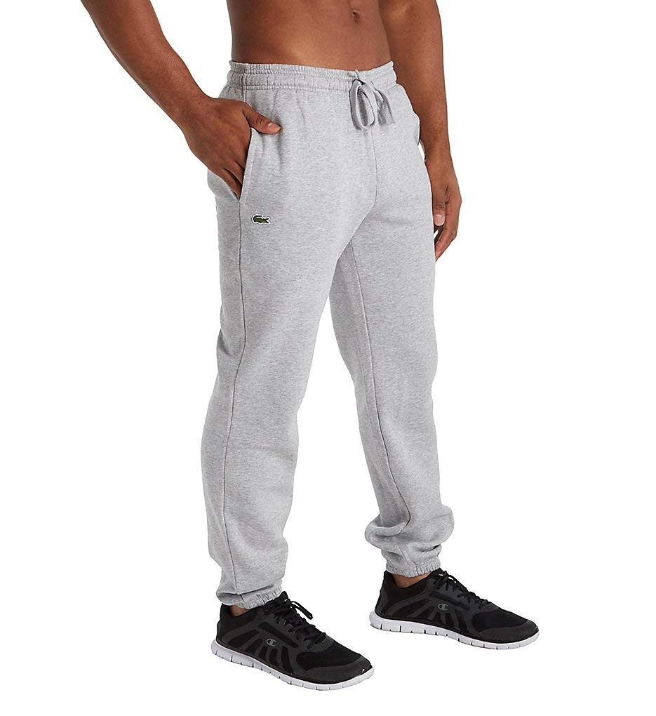 Lacoste Men's Tennis Training Sport Fleece Pant with Elastic Leg Opening, Silver/Gray Chine, 9