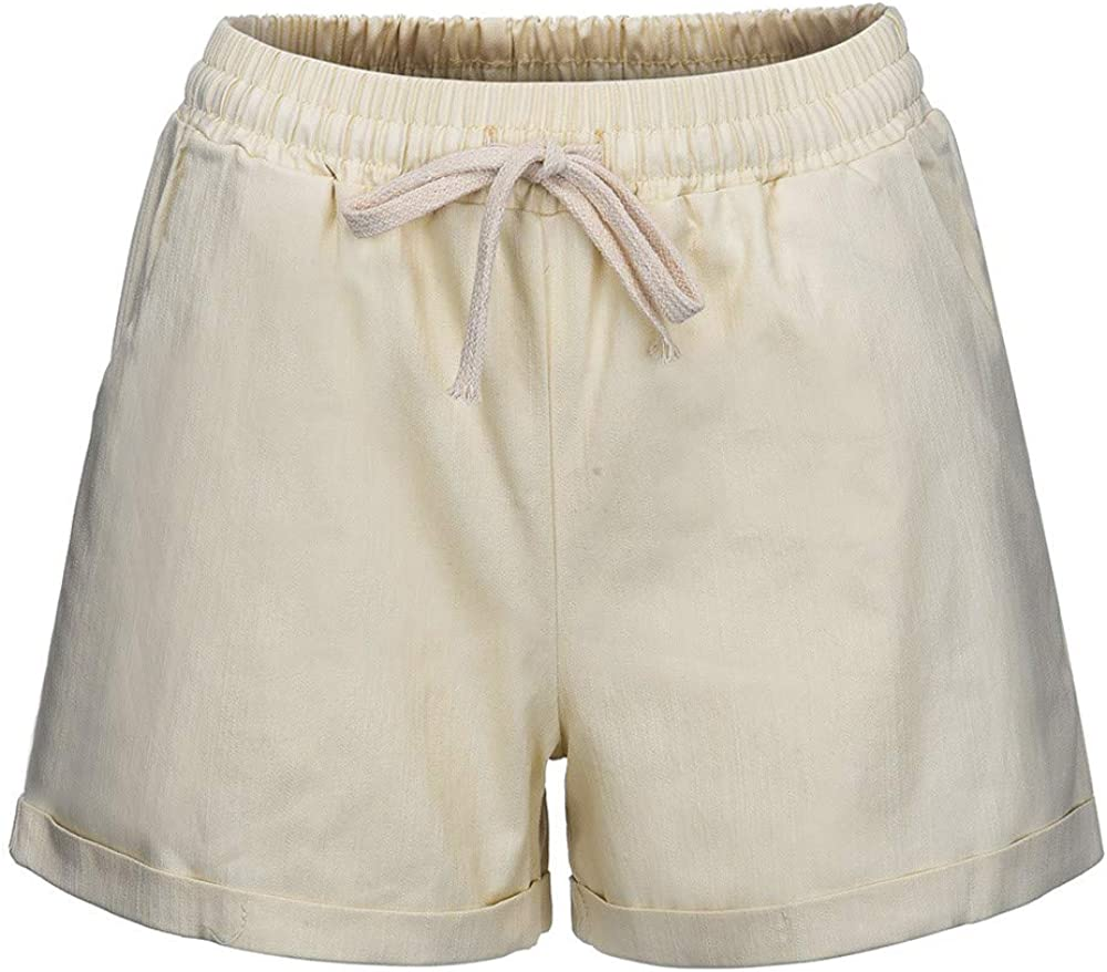 aihihe Plus Size Shorts for Womens Drawstring Elastic Waist Casual Comfy Cotton Linen Beach Shorts