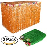 Grass Table Skirt Halloween - 110 x 29 Inches Luau String Hibiscus Leis Silk Flower Party Decoration(2 Pack,Orange and Green)