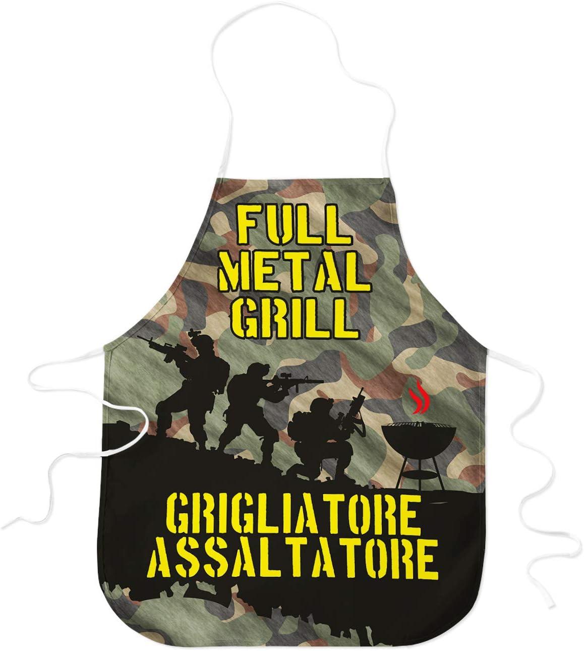 STAMPATEK Grembiule Divertente Barbecue Grigliatore Assaltatore Mimetico Cucina Grigliare Grembiuli Idea Regalo BBQ