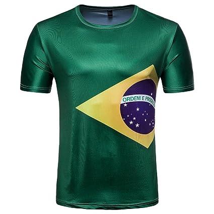 LuckyGirls Camisetas Hombre Originales Estampado de Fútbol Manga Corta Camisas para Copa Mundial FIFA 2018 Casual