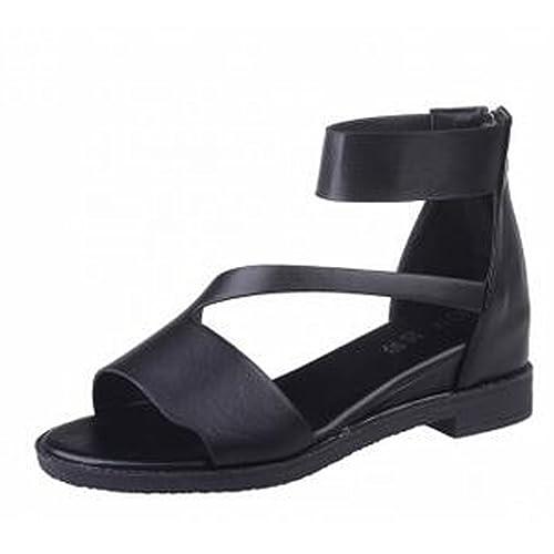 c9db6035d5972d Gaorui Women Peep Toe Ankle Strap Gladiator Flat Sandals Low Heel Antiskid  School Shoes Black