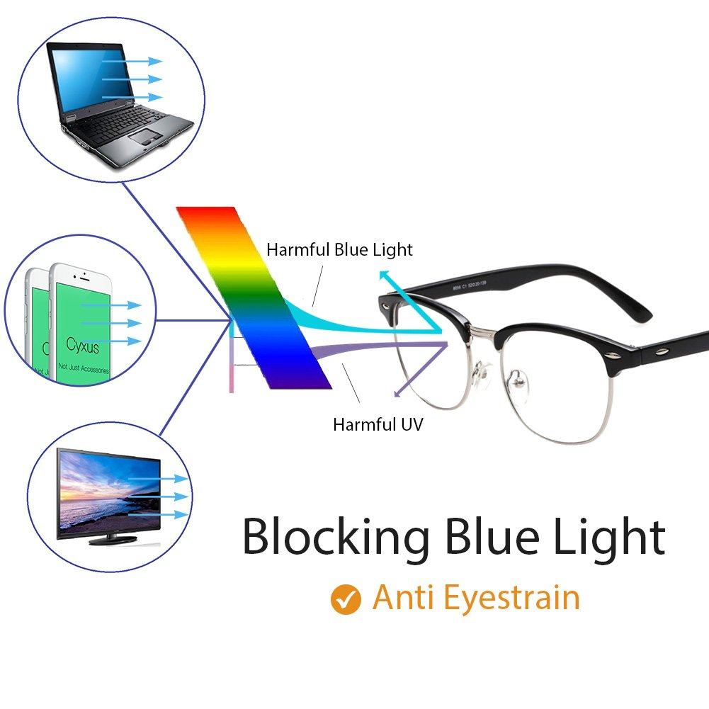 Cyxus Blue Light Blocking Semi Rimless Computer Glasses