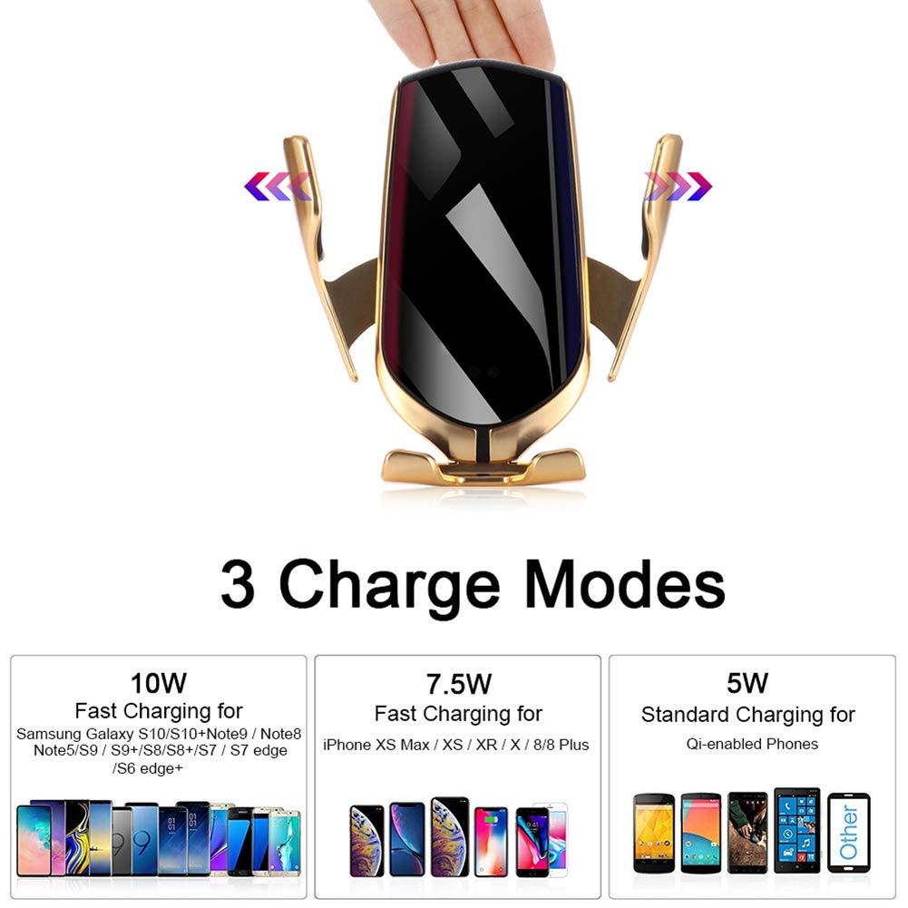 HUATINGRHEL UniversalHandyhalterung Auto Wireless Charger Qi KFZ Handyhalter mit Infrarot Sensor Handy Halterung Induktions Ladeger/ät mit L/üftungshalterung Handys Gold