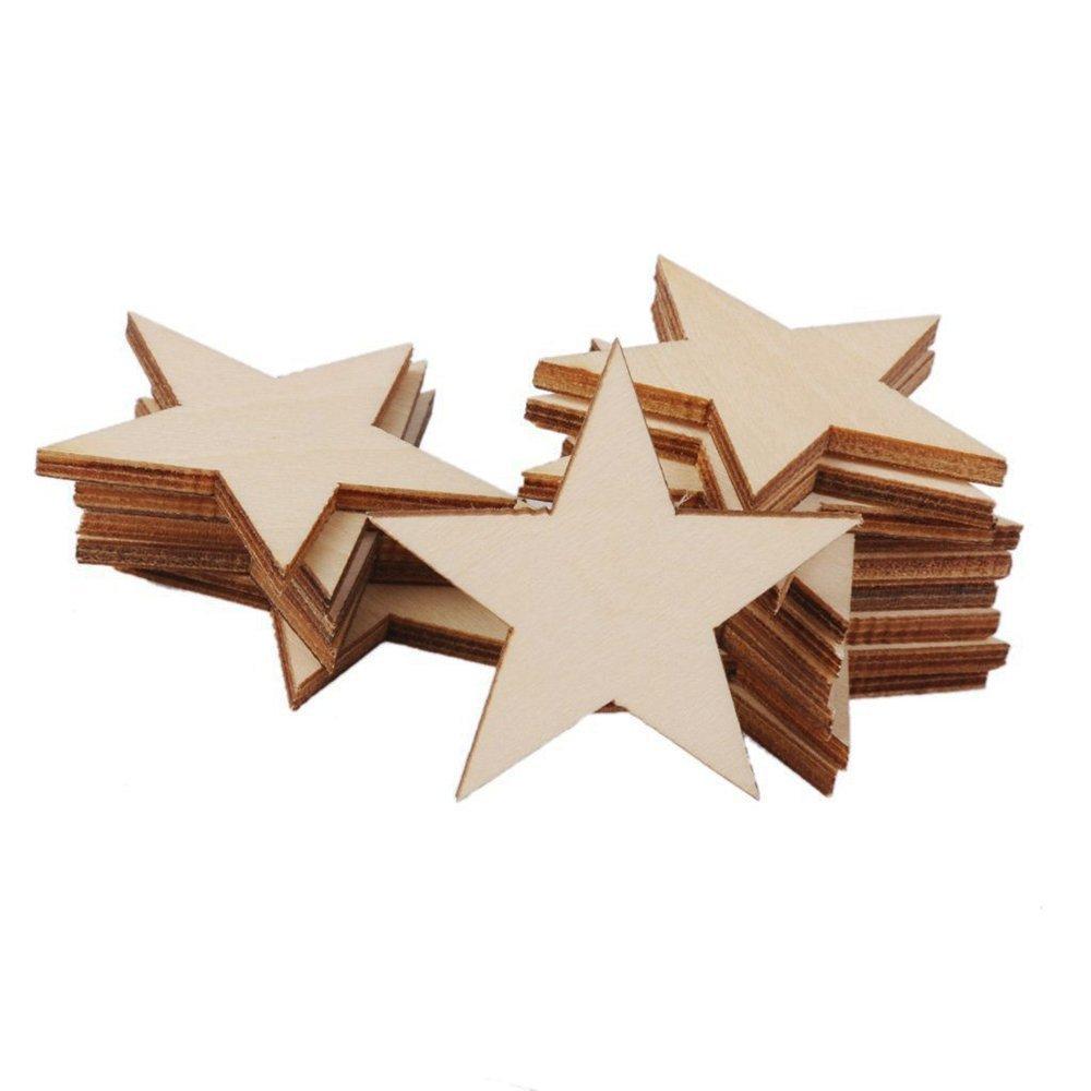Bargain House Stars Wooden Star Shape Wooden Embellishments Craft Scrapbook Vintage 50mm Wood Star Wooden Blank Embellishment for Decoration