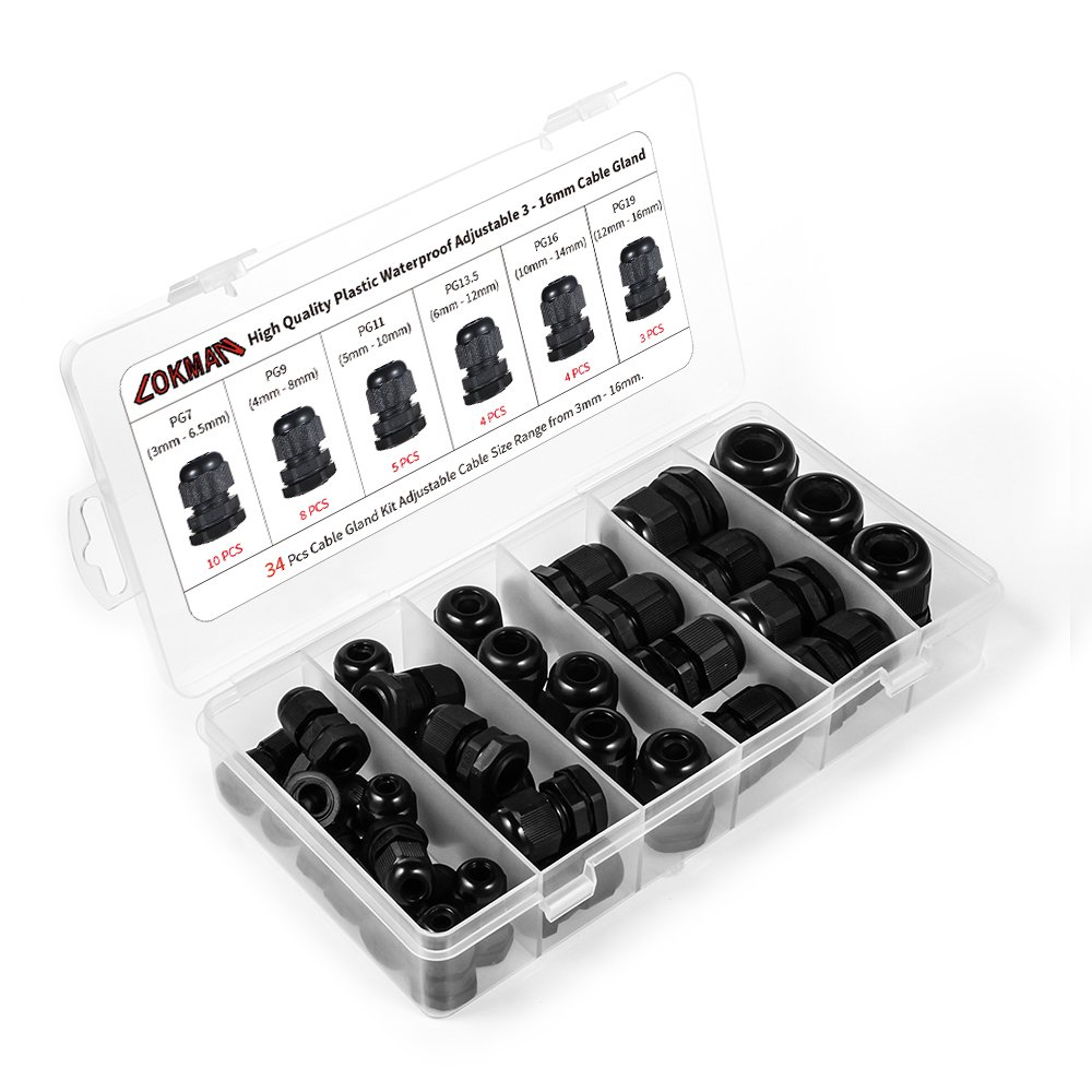 Cable Gland LOKMAN 34 Pack Plastic Waterproof Adjustable 3 16mm Cable Connectors Cable Gland Joints With Gaskets PG7 PG9 PG11 PG13.5 PG16 PG19 With Durable PP Storage Case Cable gland kit