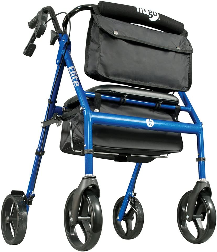 B001ULD154 Hugo Elite Rollator Walker with Seat, Backrest and Saddle Bag, Blue 61ZvVgsO9JL