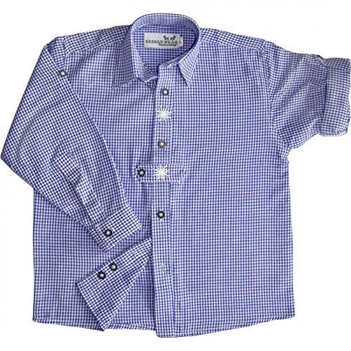 Kinder Trachtenhemd knaben trachtenhemd Trachtenlederhosen Blau-Karo, Größe:164/170