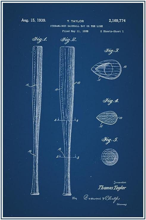Wall Art Office Art Vintage Baseball Bat 1939 Patent Poster Patent Poster