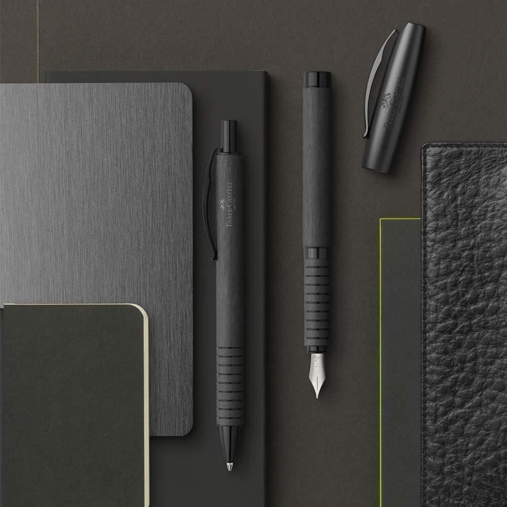 Noir, Noir, Clip-on retractable ballpoint pen, Bold, Rond, Aluminium Faber-Castell Essentio Noir Clip-on retractable ballpoint pen Bold Stylos /à bille