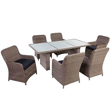 Sedie Per Tavolo In Vetro.Vidaxl Set Da Giardino 13 Pz In Polirattan Marrone Tavolo Vetro