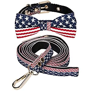 lcfun Dog Collar and Leash Set Adjustable Bow Tie Collars for Small Dogs and Cats, American Flag Pattern