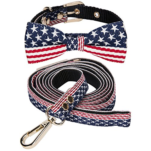 Dog Collar and Leash Set - LCFUN Adjustable Bow Tie Collars for Small Dogs and Cats, American Flag - Flag American Cat