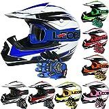 Leopard LEO-X16 KIDS MOTOCROSS HELMET & GLOVES & GOGGLES (Blue L) Children Dirt Bike Helmet Quad Crash Motorbike Helmet