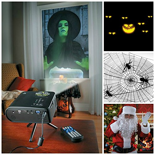 Virtual Holiday Animated Projector Kit For Window or Wall (w/12 Scenes for Halloween and Christmas)