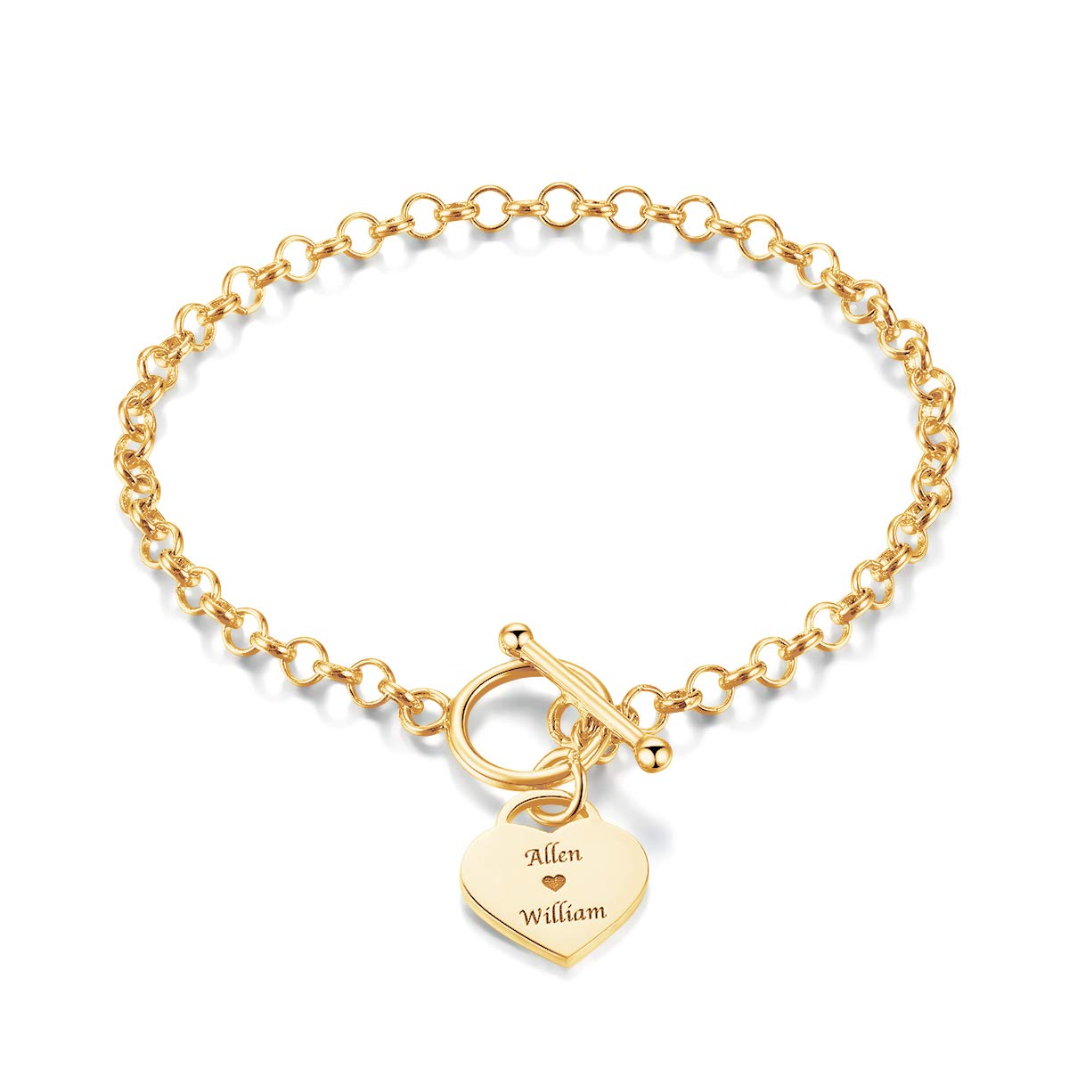 MeMoShe Personalized Name Bracelet, Custom Engraving Heart Charm Initial Link Bracelet Dainty Valentine's Gifts MS-0018-3