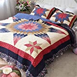 Jameswish 100% Cotton 3-Piece Quilt Sets Patchwork Embroidery Quilted Bed Cover Eight-Star Pattern Home Textile Bedding Comforter 1Quilt 2Pillowshames Washable Machine King Queen Size