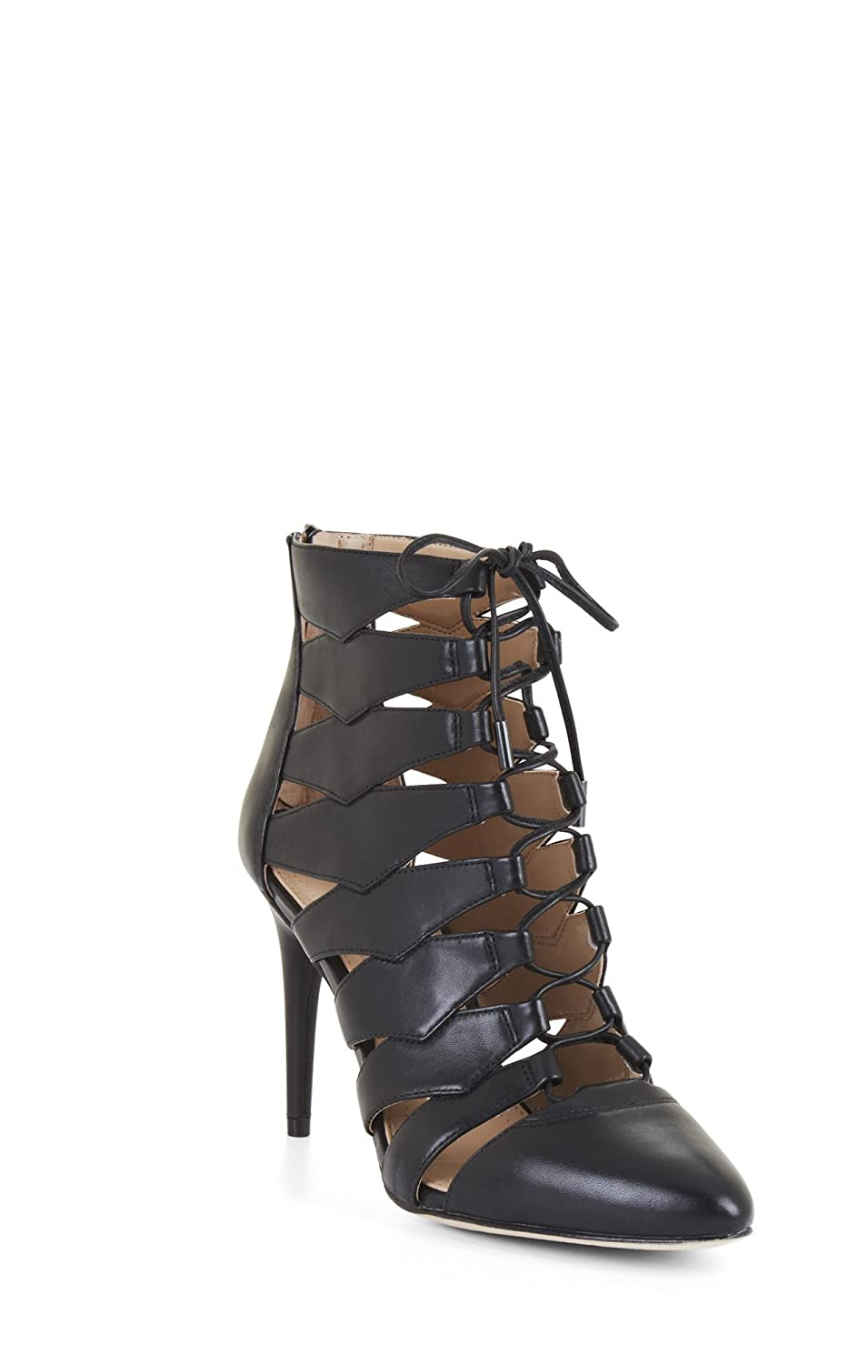 BCBG MAX AZRIA Bren Lace Up HIgh Heel Pointed Toe Cutout Single Sole Bootie