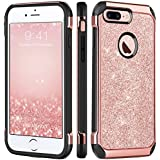 iPhone 7 Plus Case, BENTOBEN Glitter Bling Sparkly Hybrid Slim Hard Cover Laminated with Luxury Shiny Faux Leather Shockproof Soft Bumper Protective Case for iPhone 7 Plus (5.5 inch), Rose Gold