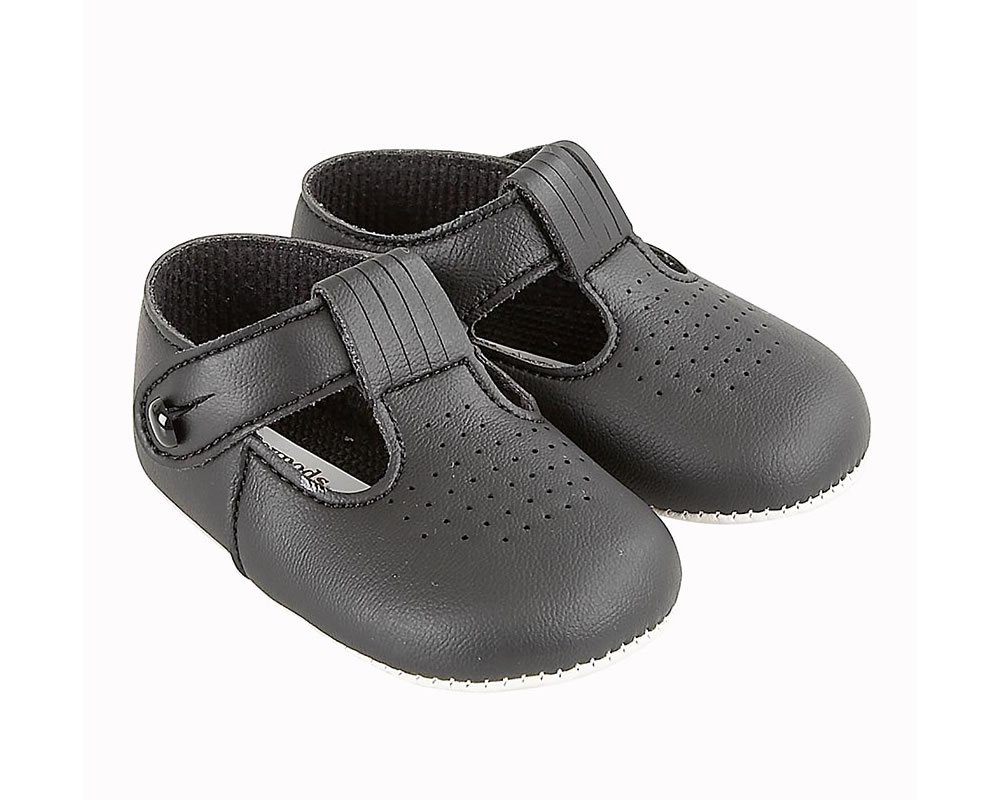 BABY SHOES SOFT SOLE BAYPOD T-BAR BUTTON FASTENING MADE IN UK IN 7 COLOURS