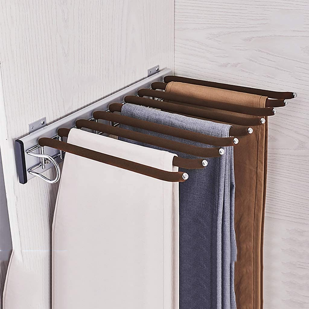 Details about  /Pull-out Clothes Hanger Trouser Rack Extending Rail Wardrobe Storage Organiser