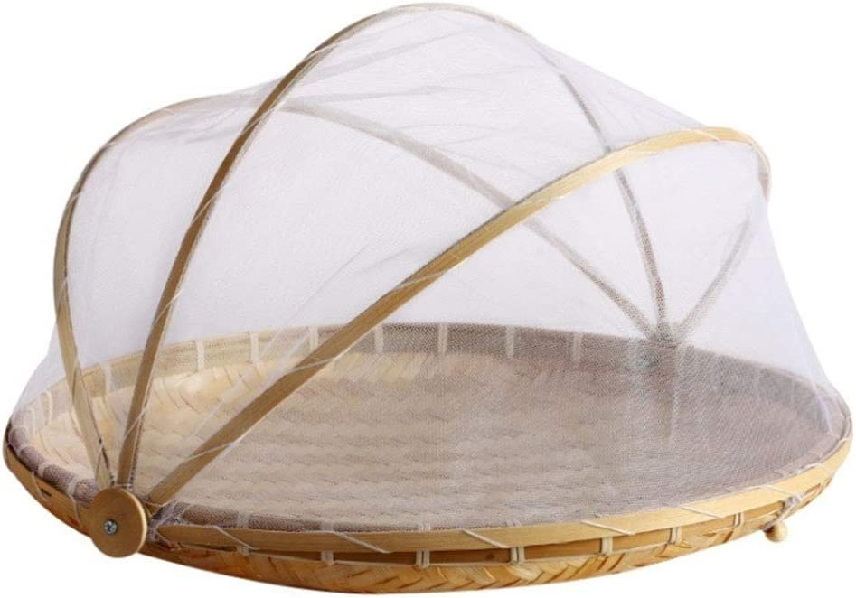 dxS8hhuo Picnic Hand Woven Bamboo Tent Basket Serving Tray Anti Insect Dust Net Mesh Cover Food Fruit Container Round L