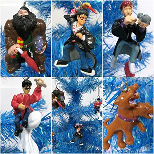 Harry Potter 5 Piece Christmas Tree Ornament Set Featuring Harry Potter, Ron Weasley, Fluffy and Hagrid - Around 2