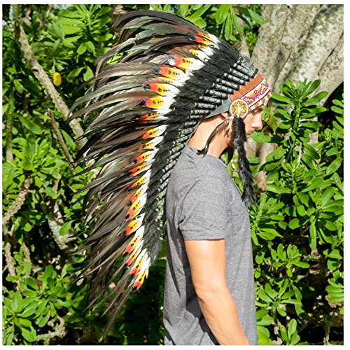[Long Feather Headdress- Native American Indian Inspired- Handmade Halloween Costume for Men Women with Real Feathers - DOUBLE FEATHER] (Male Indian Costumes)