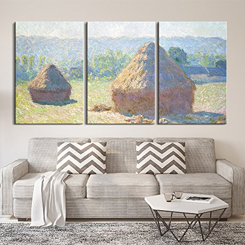 3 Panel Haystacks end of Summer by Claude Monet x 3 Panels