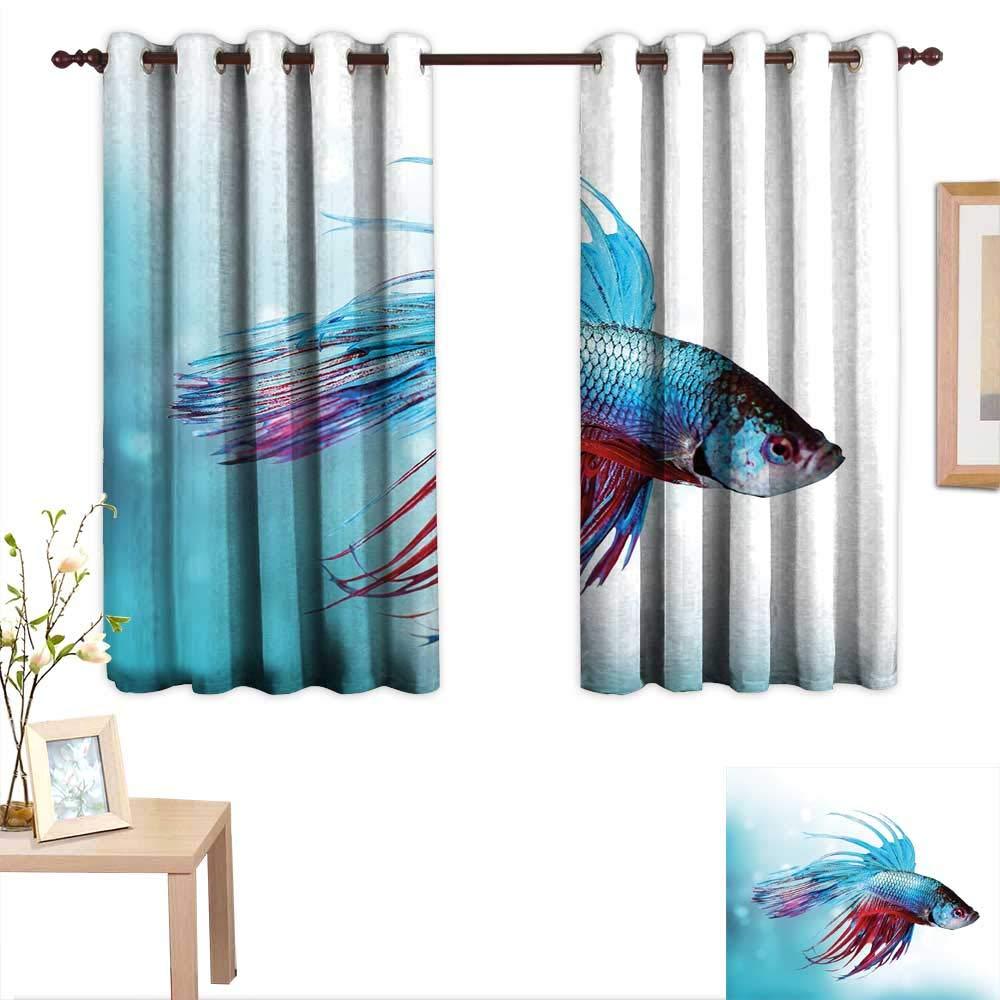 Luckyee - Cortinas Personalizadas para Acuario con diseño de pez Betta en siamés y Peces en Acuario, 55 x 72 Pulgadas, Apto para Dormitorio, Sala de Estar, ...
