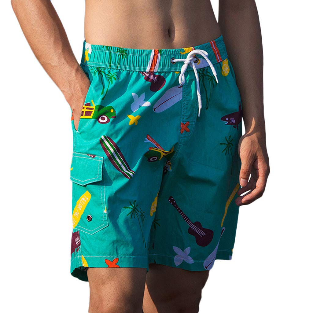 NUWFOR Men's Printed Double-Pocket with One Middle Pocket Loose Elastic Rope Beach Pants(Green,US XS Waist:26.77-38.58'')
