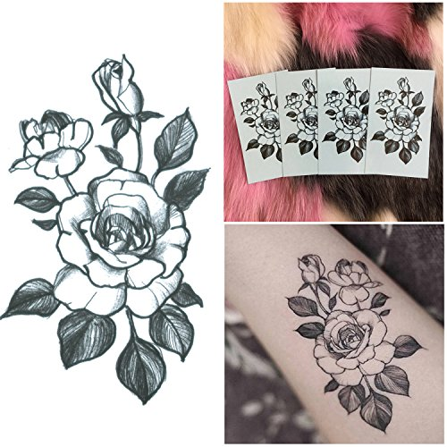 DaLin 4 Sheets Sexy Floral Temporary Tattoos for Women Flowers Collection (Rose) Floral Collection Rose