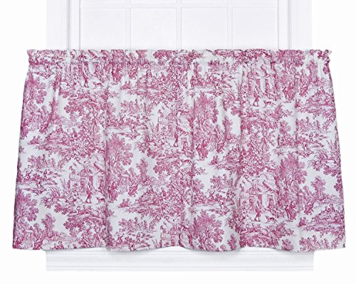 Victoria Park Toile 68-Inch-by-36 Inch Tailored Tier Curtains, Red