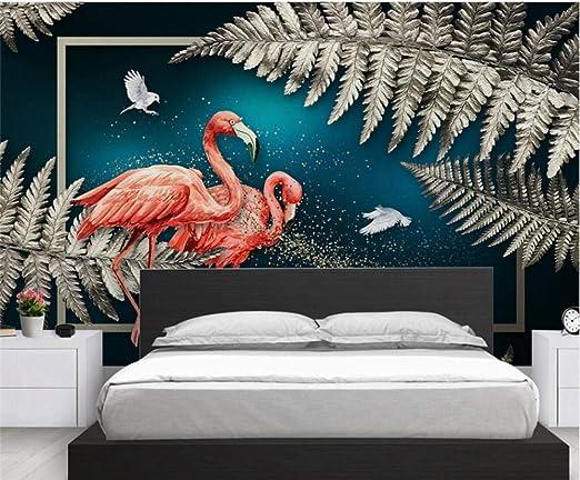 Papel de pared de lujo pintado a mano 3D Planta tropical Hojas ...