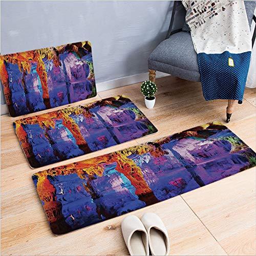 3 Piece Non-Slip Doormat 3d print for Door mat living room kitchen absorbent kitchen mat,Formation on Algarve Coast Seascape and Cliffs,15.7