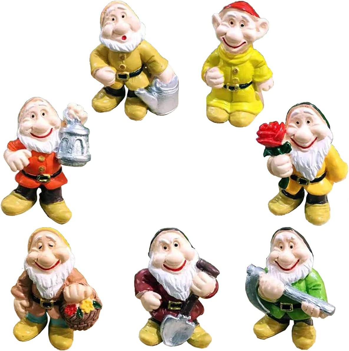 MIBUNG 7pcs Mini Garden Gnomes Statues - Miniature Fairy Garden Decor Accessories Funny Dwarf Gnomes Figurines Ornaments for Fairy Garden House Decoration, B