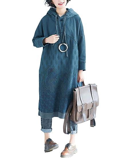 c13d2847224835 BUYKUD Wowen Coat Sweatshirt Loose Dress Printed Hooded Long Sleeve Casual  Maxi Blue  Amazon.co.uk  Clothing