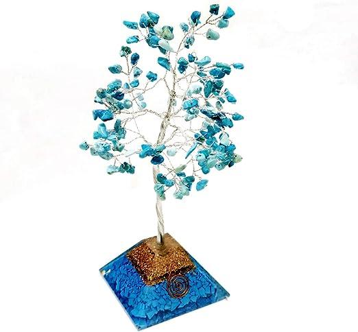 Turquoise Golden Wire Reiki Healing Stone Feng Shui Bonsai Money Tree