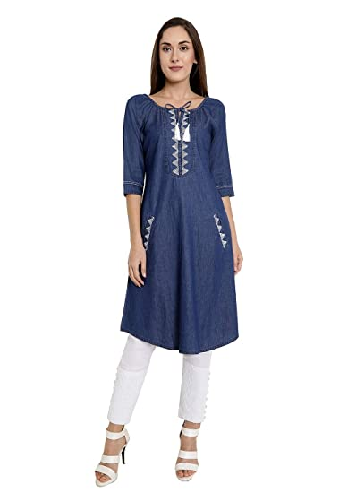 4ad6ca6614e TWGE Denim Kurti for Women - Blue Knee Length Kurta with 2 Pockets - Kurti  for women with 3/4th Sleeves kurti - Casual Wear: Amazon.in: Clothing & ...