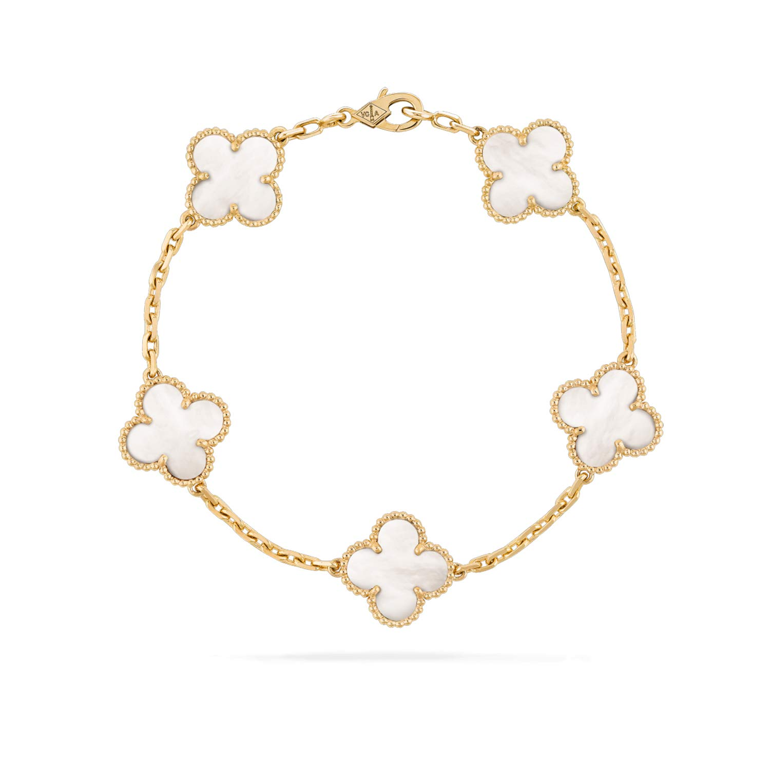 Van Cleef & Arpels Genuine Royal Jewelry Four Leaf Clover Bracelet Gift Packaging 2019 Vintage Alhambra Hand Chain Yellow Gold, Mother-of-Pearl