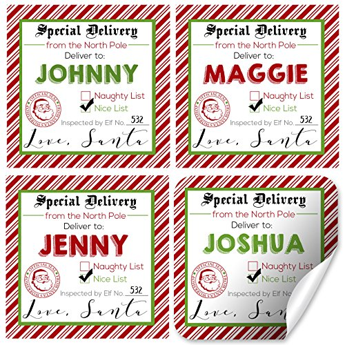 Custom and Personalized Santa's Special Delivery Gift Tag Stickers, Set of 12 2.5 X 2.5 Square Labels from Santa for Christmas Gifts by ()