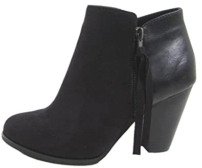 2a896736f Amazon.com | SODA Women's Ages Tassel Zip Chunky Heel Bootie | Ankle ...