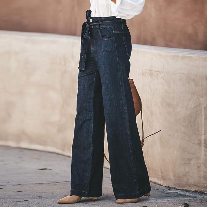 Mujer Vaqueros Acampanados Pantalones Largos EláStico Cintura Alta Retro Flared Jeans Cintura Alta Pajarita Ojal Dril AlgodóN Pantalones Anchos Pierna ...