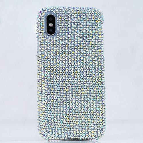 (iPhone Xs Max Case, [Premium Handmade Quality] Bling Genuine Aurora Borealis Crystals AB Protective Easy Grip Case Cover [by Luxaddiction])