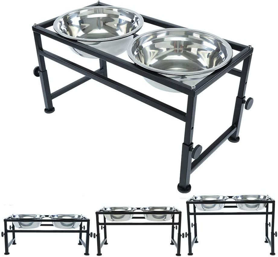 FOREYY Adjustable Raised Pet Bowls for Dogs and Cats - Elevated Iron Dog Cat Pet Food and Water Feeder Stand with 2 Stainless Steel Bowls and Anti Slip Feet for Small Medium Large Dogs